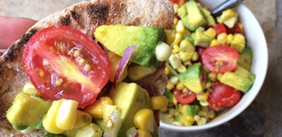 Avocado, Corn and Tomato Bruschetta