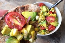 Avocado, Corn and Tomato Bruschetta
