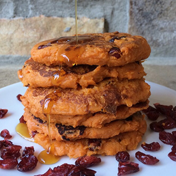 Cranberry Pecan Sweet Potato Pancakes