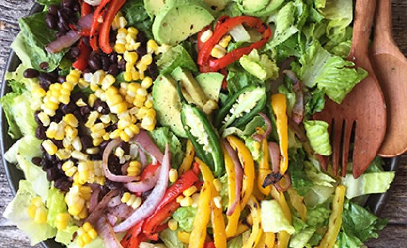 Veggie Fajita Salad with Spicy Avocado & Lime Dressing