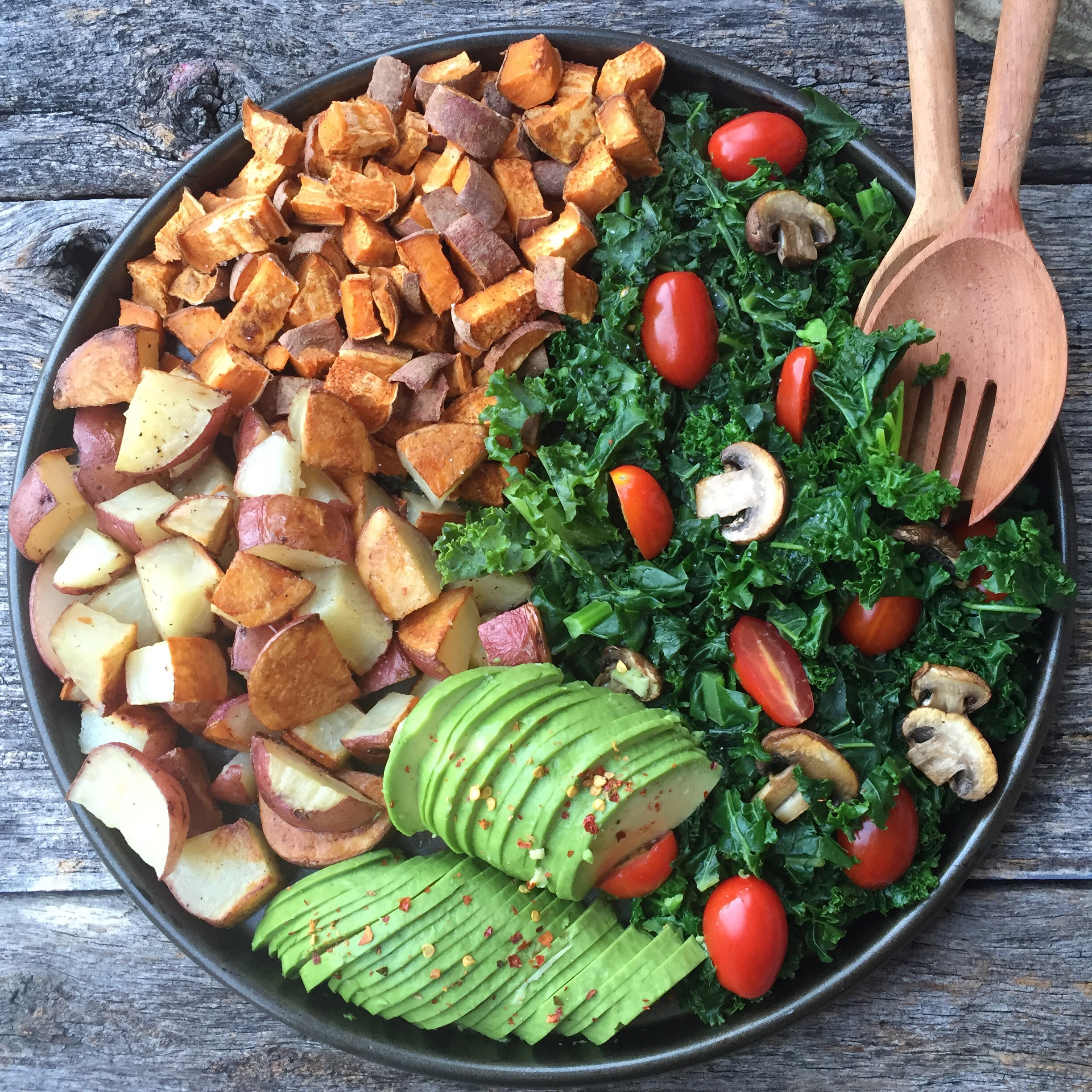 Roasted Potatoes with Garlic Kale